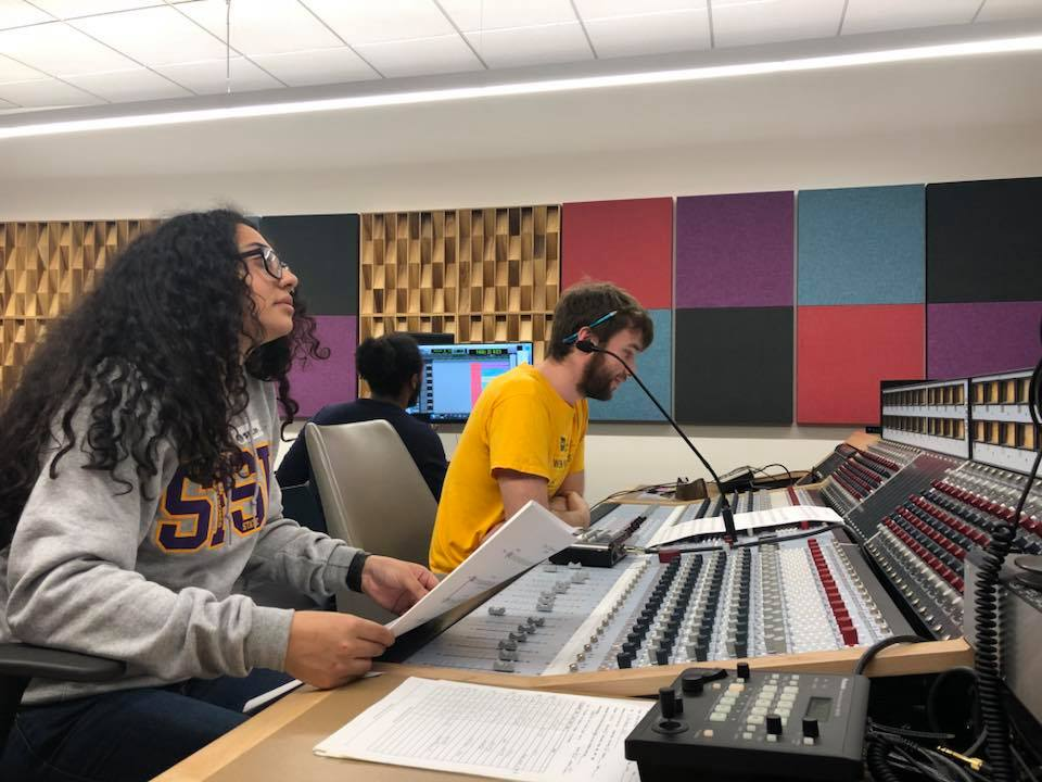 Zaira and very talented film composer, Thomas Soto creating the origianl score for Dear Bella. Also pictured is Recording Engineer, Raheem Frederi.
