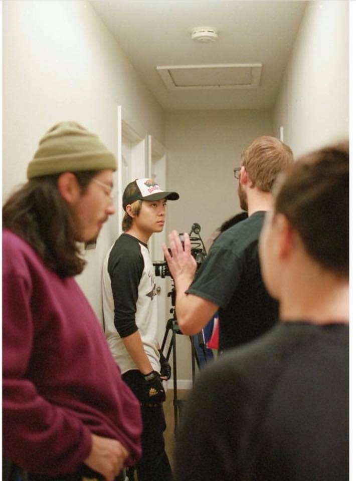Script Supervisor Spencer Wilson conversing continuity with Director of Photography Justin Vong