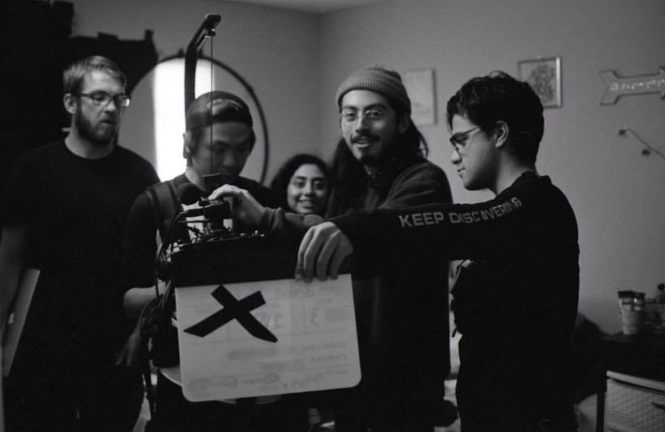 Zaira Aguilar (Director), Spencer Wilson (Script Supervisor), Justin Vong (Director of Photography), Justin Aragon (1st AC) and Lucas Xavier (2nd AC) setting for the next take.